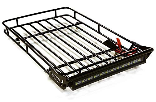Integy RC Model Hop-ups OBM-1357 Realistic 1/10 Scale Luggage Tray 245x150x33mm with Roof Top LED Light Bar