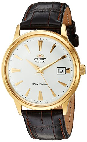 Orient Men's '2nd Gen. Bambino Ver. 1' Japanese Automatic Stainless Steel and Leather Dress Watch, Color:Brown (Model: FAC00003W0)
