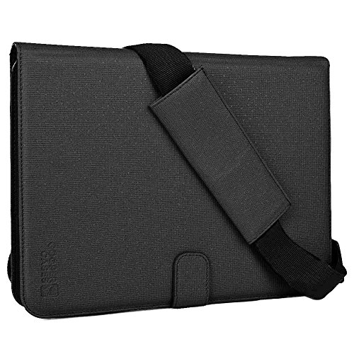 Cooper Magic Carry II case Shoulder Strap 9, 9.7, 10, 10.1'' inch Tablets | Protective Tablet Folio Cover Handle & Stand | Carrying Case Business School Restaurant Travel (Black) by Cooper Cases