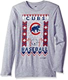 MLB Chicago Cubs Youth Boys Light the Tree Short Sleeve Tee, Large (14-16), Grey