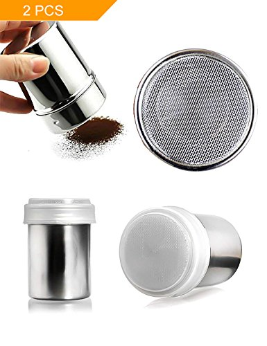 HansGo Seasoning Cans, 2PCS Stainless Steel Versatile Dredge Shaker Spice Salt Sugar Pepper Shaker with Rotating Cover for Kitchen Cooking and Outdoor Barbecue (Shakers Stainless Steel Condiment)