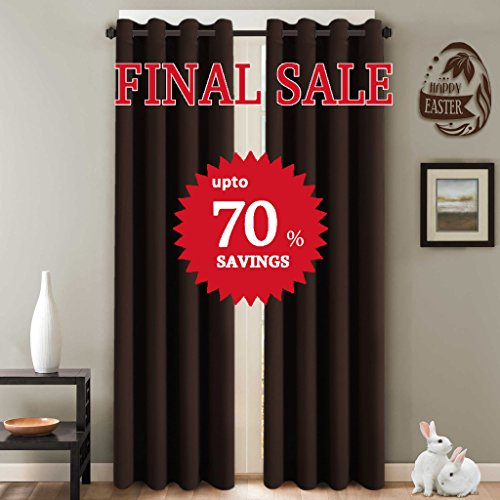 H.Versailtex Three Pass Microfiber Blackout Thermal Insulated Grommet Panels Window Curtains / Drapes (Set of 2, Chocolate Brown, 52 x 96 Inch)
