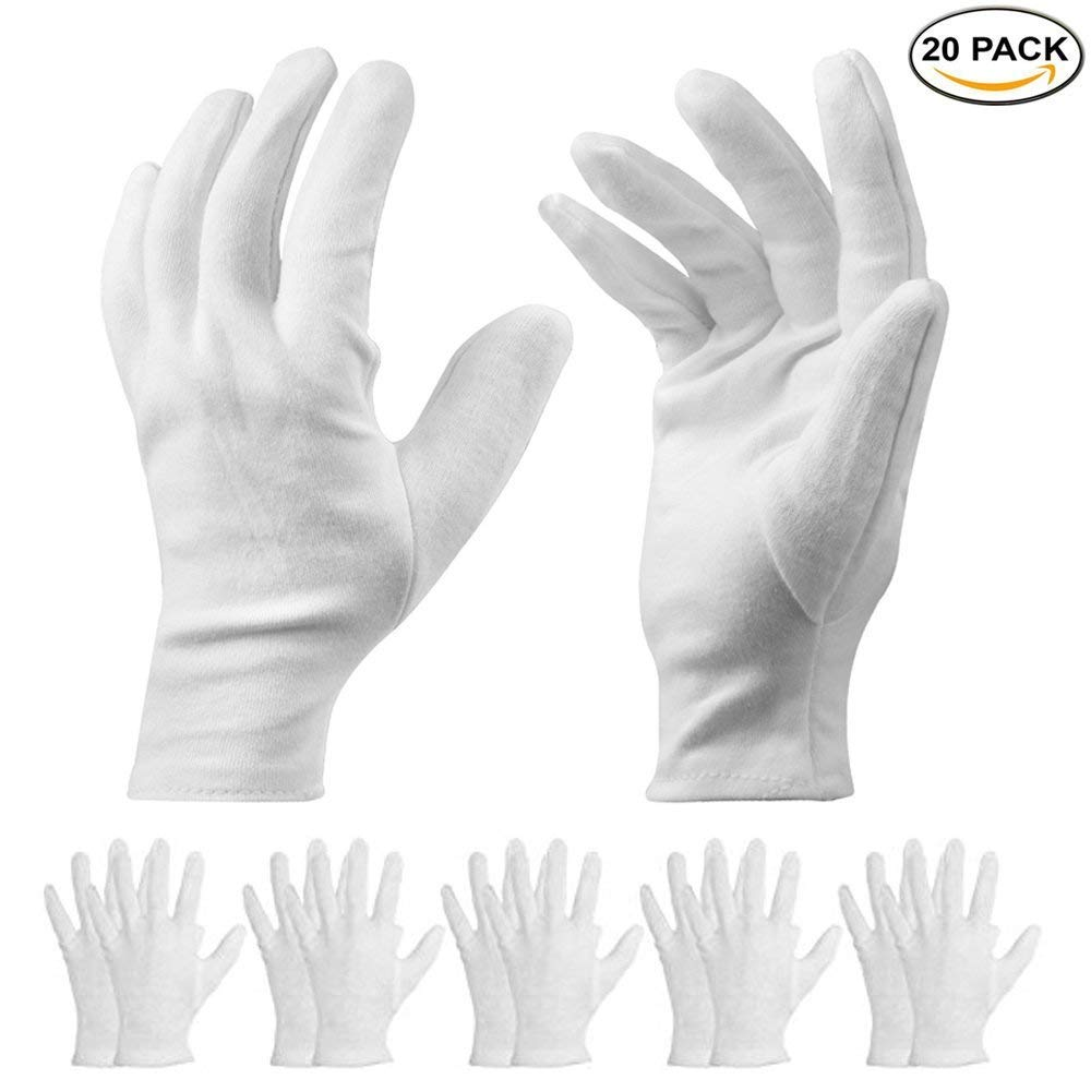 20 Pack White Cotton Gloves - 9.8'' L Work Gloves Cosmetic Moisturizing Gloves for Dry Hands & Eczema, Jewelry Inspection and More - Large Size Foxcesd