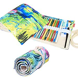 Damero Design Canvas Wrap Holder for 72 Colored Pencil, Roll Case for Pencils, Travel Organizer Pouch for Artist, Multi-purpose (No Pencils Included), 72 Holes, Painting