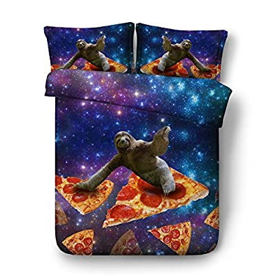 Royal Linen Source Space Dog 3PCS 3D Red and Navy Pizza Bedding Twin/Full/Queen/King/Super King Size Bed Set