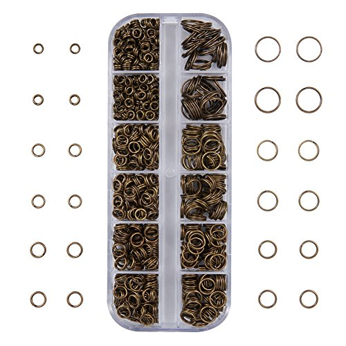 (PandaHall Elite About 505 Pcs Brass Split Rings Double Loop Jump Ring Diameter 4-10mm Wire 21-Gauge for Jewelry Making Antique Bronze)