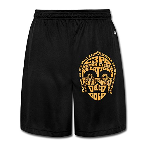 [Logon 8 Men's C-3PO Quotes Personalize Athletic Running Black XXL] (C3po Mask)