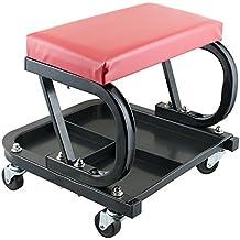Pevor Car Repair Roller Seat Padded Mechanics Roller Creeper Auto Workshop Bench Garage Equipment Vehicle Chair Repair Tools Tray Red