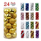 GameXcel Christmas Balls Ornaments for Xmas Tree - Shatterproof Christmas Tree Decorations Large Hanging Ball Gold 2.5' x 24 Pack