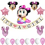 Minnie Mouse Baby Shower Decorations for Girl Pink Party Decorations| Baby Girl Banner| 18 Piece