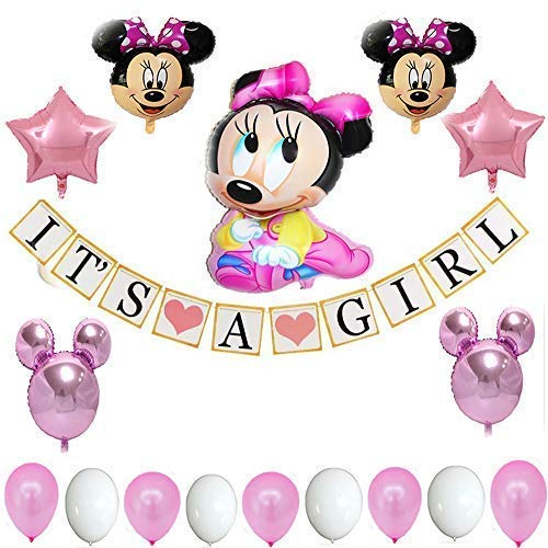 - Minnie Mouse Baby Shower Decorations for Girl Pink Party Decorations| Baby Girl Banner| 18 Piece
