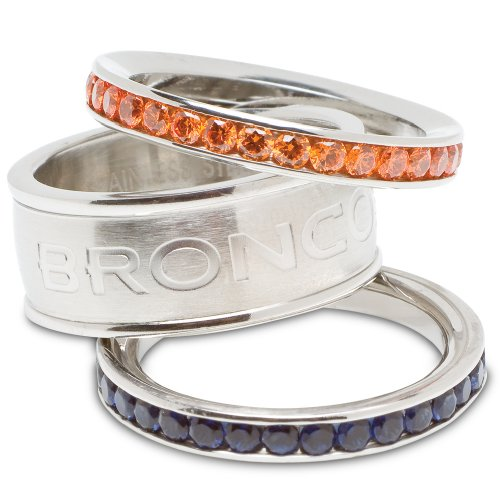(Denver Broncos Logo Crystal Stacked Ring Set (Size 8))