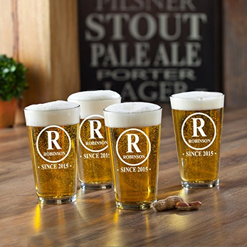 Personalized Initial Pint Glasses - Monogrammed Pint Glasses - Custom Pint - Custom Pub Glasses