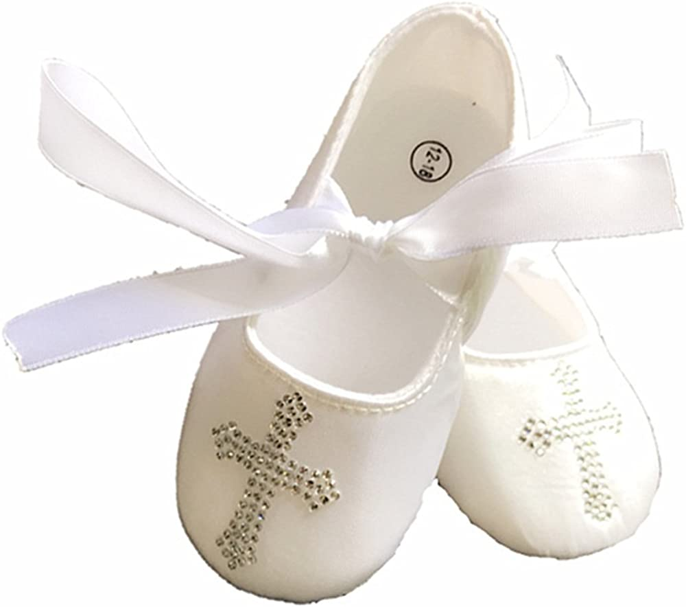 Dollbling White Custom Dazzling Rhinestones Cross Satin Baby Shoes for Christening Bridal Flower Girl