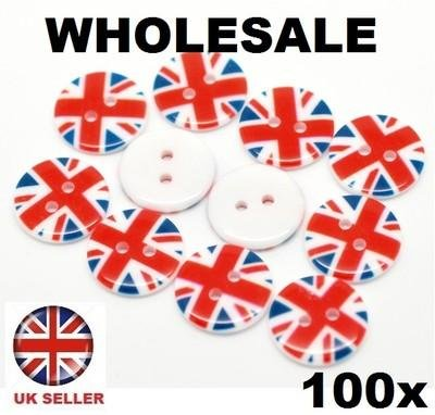 - CKB Ltd 100X Union Jack Sewing Buttons Ckb17143 - Two Holes Resin Scrapbooking 18Mm (3/4