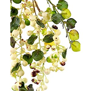 Rinlong Artificial Berries Hanging Spray Frosted for Flowers Arrangement Home Hotel Decor 2pcs per Pack (White) 3