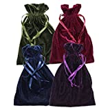 "Velvet Jewelry Bag, Soft Drawstring Pouch, Tarot, Dice, Rune or Card Gift Bag, 6"" x 9"" (4 Pack, Navy, Purple, Wine & Olive)"