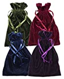Velvet Jewelry Bag, Soft Drawstring Pouch, Tarot, Dice, Rune or Card Gift Bag, 6'' x 9'' (4 Pack, Navy, Purple, Wine & Olive)