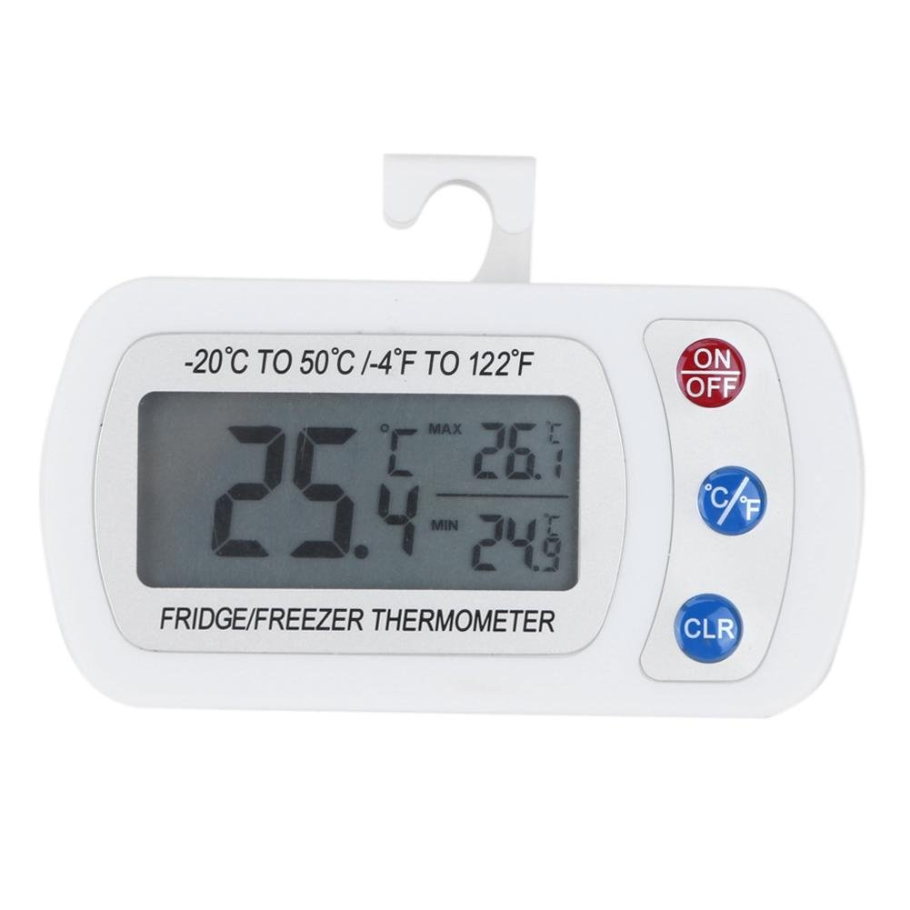 Demiawaking Refrigerator Thermometer, Waterproof Fridge Freezer Thermometer Temperature Gauge with Hanging Hook Min Max LCD Display