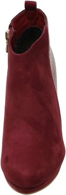Bella Marie Kayla-18 Womens Almond Toe Platform Chunky Heel Patent Back Side Zip Suede Ankle Booties