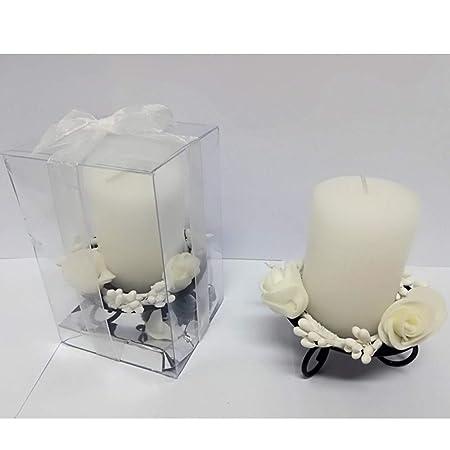 Candele Bomboniere Matrimonio.Trade Shop Traesio Candela Cilindro Supporto Metallo Rose Bianco