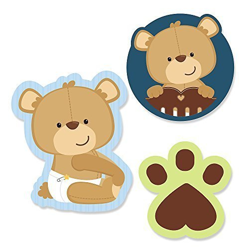 Big Dot of Happiness Baby Boy Teddy Bear - DIY Shaped Baby Shower Party Cut-Outs - 24 Count (Die Bear Teddy)