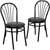 Flash Furniture 2 Pk. HERCULES Series Fan Back Metal Chair - Black Vinyl Seat