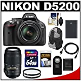 Nikon D5200 Digital SLR Camera and 18-55mm G VR DX AF-S Zoom Lens (Black) with 55-300mm VR Lens + 64GB Card + Battery + Backpack Case + Filters + Accessory Kit, Best Gadgets