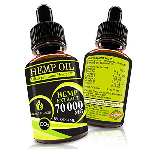 Hemp Oil Drops 70 000 mg, Co2 Extracted, Help Cope with Stress, Anxiety and Pain, 100% Natural Ingredients, Vegan…