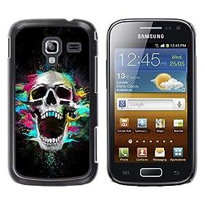 Qstar Arte & diseño plástico duro Fundas Cover Cubre Hard Case Cover para Samsung Galaxy Ace 2 I8160 / Ace2 II XS7560M ( Skull Neon Scream Teeth Skeleton Colorful)
