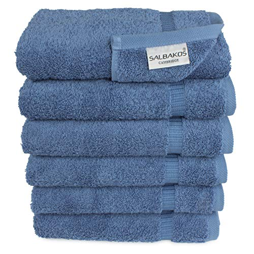 "SALBAKOS Genuine Premium Organic Turkish Cotton Hotel and Spa Hand Towels, 700 GSM, 16""x30"", Blue (Hand Towels – Qty 6…"