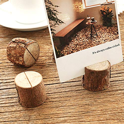 - Binory 10pcs Office Log Photo Clip Rustic Wood Table Numbers Holder,Bark Stump Crafts Ornaments,Large Card Slot Daily Decorations for Party Wedding Table Name Card Holder Memo Note Card