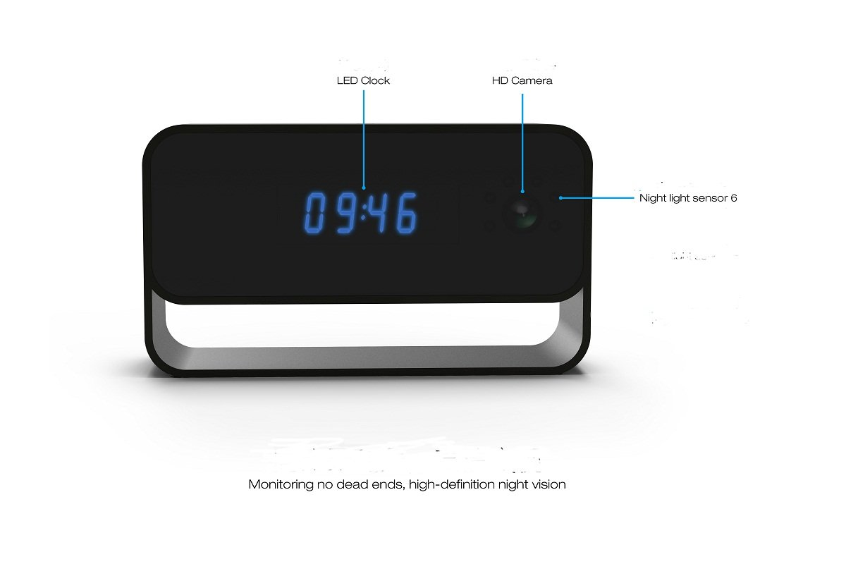 Hidden Wifi Alarm Clock 1080p Full HD Mini DV Cámara espía H.264 IR Nightvision Detección de movimiento Activated Remote Monitoring Loop Control remoto ...