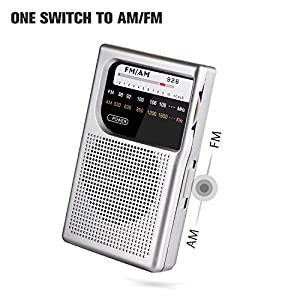 AM FM pocket radio, AM FM radio portable with Stable Reception and Clear Sound, Portable Pocket Radio with one switch to AM FM, AM/FM pocket radio with 3.5mm Headphone Jack