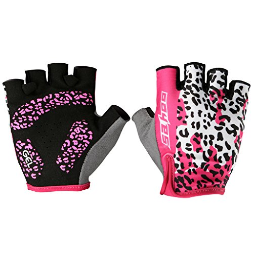 Tofern Pink Leopard Pattern Women/Girls' Perspiration Cycling Running Gym SPINNING FitnessFingerless All weather Gloves with Vibration-absorbing Soft Silicone GEL Pad - (All Weather Leopard Gloves)