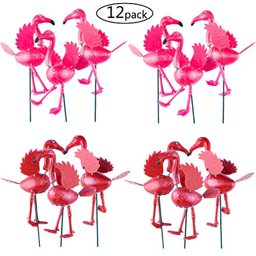 den Stakes Decorations Outdoor Lawn Decorative Yard Decor Patio Accessories Ornaments Plastic Gardening Art Mini Pink Flamingos Christmas Whimsical Gifts (Pack of 12) ()