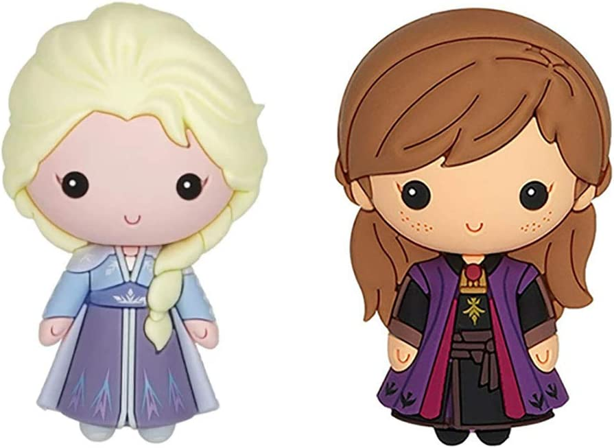 Frozen 2 Elsa Ice Queen and Anna in Purple Dress 3D Novelty Kitchen Refrigerator Magnet (2 Pack)