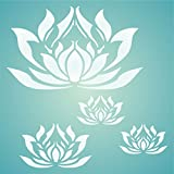 """LOTUS FLOWERS STENCIL (size 7""""w x 7""""h) Reusable Stencils for Painting - Best Quality Scrapbooking Wall Art Décor Ideas - Use on Walls, Floors, Fabrics, Glass, Wood, Posters, and More…"""