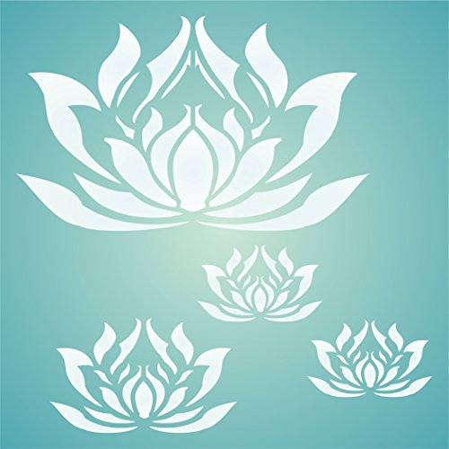 "LOTUS FLOWERS STENCIL (size 14""w x 14""h) Reusable Stencils for Painting - Best Quality Scrapbooking Wall Art Décor Ideas - Use on Walls, Floors, Fabrics, Glass, Wood, Posters, and More… by Stencils for Walls"
