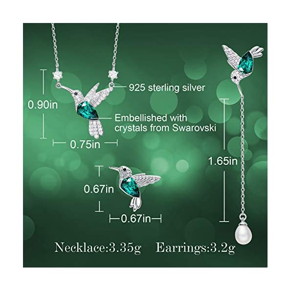 CDE-Christmas-Jewelry-Sets-Gift-for-Women-Girls-Hummingbird-S925-Sterling-Silver-Jewelry-Set-Pendant-Necklace-Pearl-Earrings-Set-Embellished-with-Crystals-from-Swarovski-Fine-Jewelry-Birthday-for-Mom