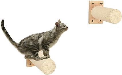 2 piezas Sisal Rascador, Montado en la pared Raspador con Base, Compatible con Árbol del gato, Escaleras de gato, Pasos de escalada del gatito, ...