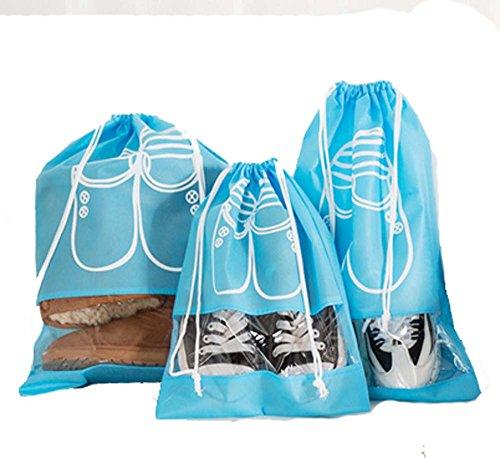 Tosnail 10 Stück Schuhbeutel mit Zugband, 45*32cm, blau