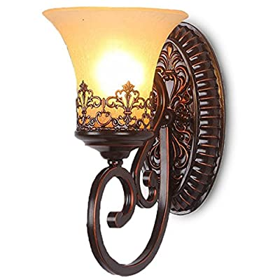 CGJDZMD Wall Sconce Retro Vintage Industrial Wrought Iron Wall Lamp, Traditional Vintage Oranmental Candle Holder Style Hanging Light for Kitchen, Dining room,Lliving room Single Head Decorative