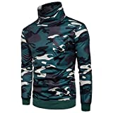 Aurorax Men's [Ultimate Cotton] Fleece Heavyweight Crewneck [Sweatshirt] Camouflage Long Sleeve Adult Tops Blouse Sweaters Jacket Coat Outwear (Green, M)