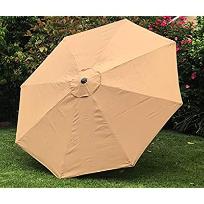 BELLRINO Replacement Umbrella Canopy for 10ft 8 Ribs Tan/Light Coffee (Canopy Only) : Garden & Outdoor