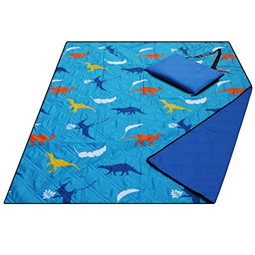 Large Waterproof Sand Proof Beach Blanket, Machine Washable Picnic Blanket,Ground/Grass Mat,Folding Outdoor Camping Mat for Kids (Dinosaur)