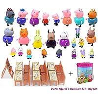 New 25 Pcs Peppa Pig Different Models Figures