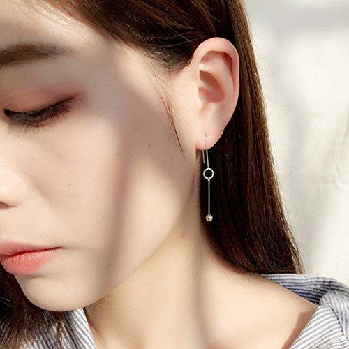 Handmade Earrings Dangling (A&C Fashion Korean Version Chic Asymmetric Ear Line for Women. Unique Handmade Earrings Jewelry for Girl. (Silver Color))