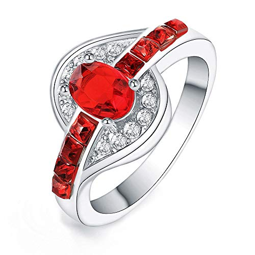 Xinantime Women Red Crystal Silver Cubic Zirconia Band Ring Jewelry Gift Means Love Forever (9, Red)