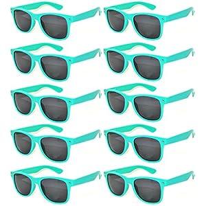 10 Pack Turquoise Frame Vintage Sunglasses Smoke Lens OWL.